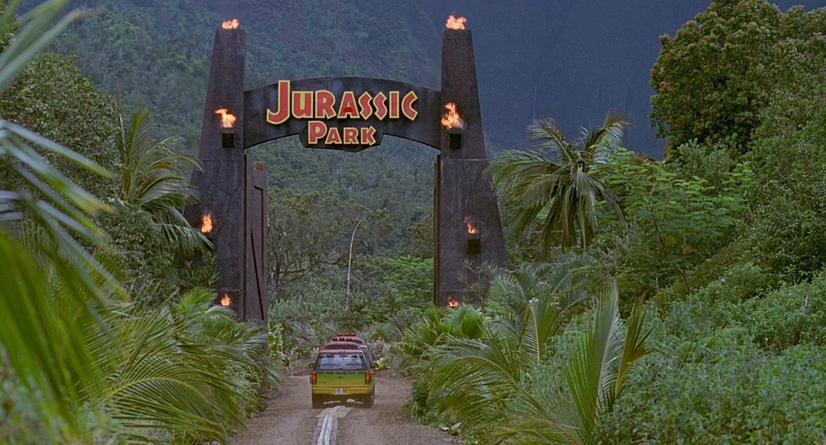 the gate at Jurassic Park