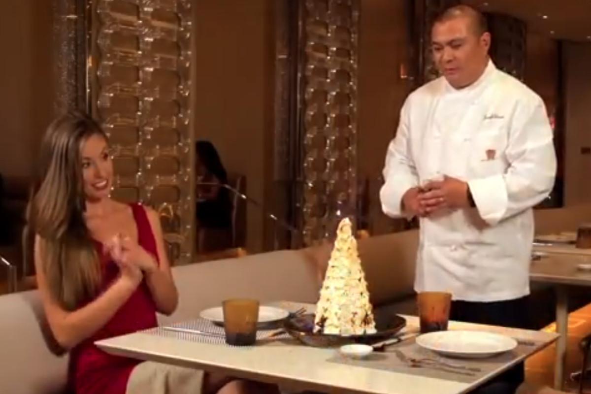 Andrea' executive chef Joseph Elevado lights up the Mt. Fuji dessert.