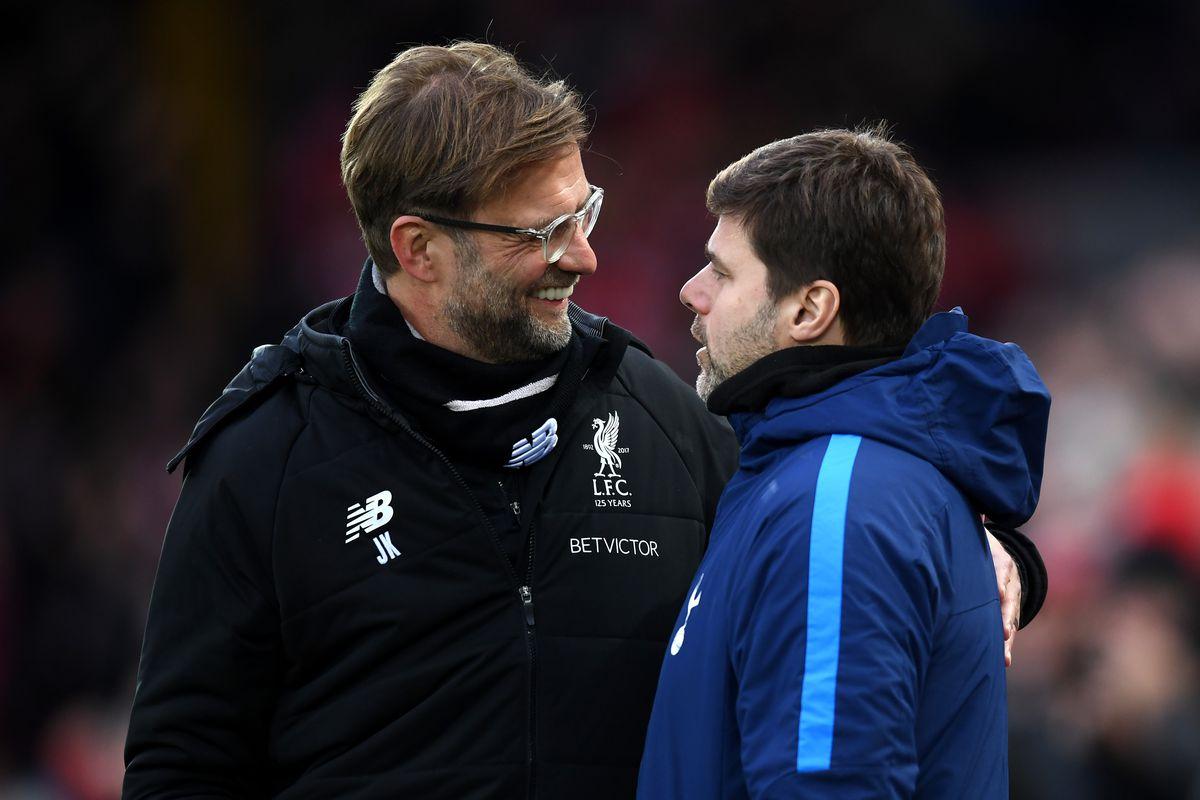 Jurgen Klopp greets Mauricio Pochettino - Liverpool v Tottenham - Premier League