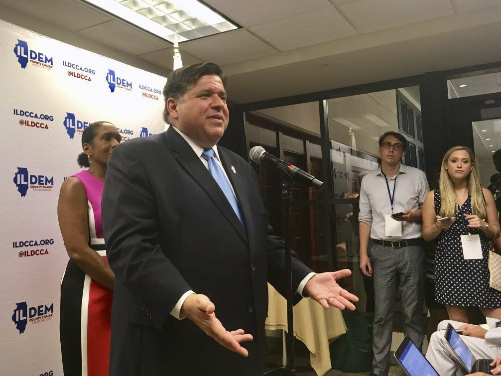 J.B. Pritzker, Democratic nominee for Illinois governor, addresses reporters after party faithful rallied at a brunch Aug. 16 in Springfield prior to Democrat Day at the Illinois State Fair.   John O'Connor/AP