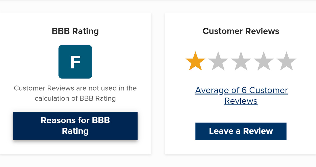 A screenshot of a businesses bad ranking in BBB.