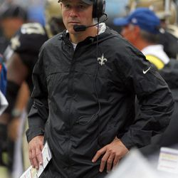 New Orleans Saints acting head coach Aaron Kromer looks on during the third quarter of an NFL football game against the Carolina Panthers in Charlotte, N.C., Sunday, Sept. 16, 2012.
