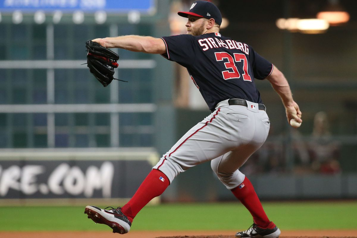 Washington Nationals pitcher Stephen Strasburg throws a pitch against the Houston Astros in the first inning in game six of the 2019 World Series at Minute Maid Park.