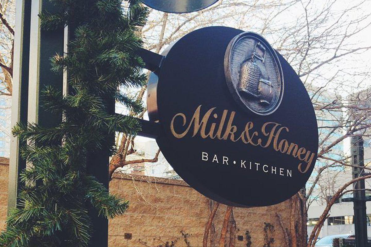 Signage at Milk & Honey on Larimer Square