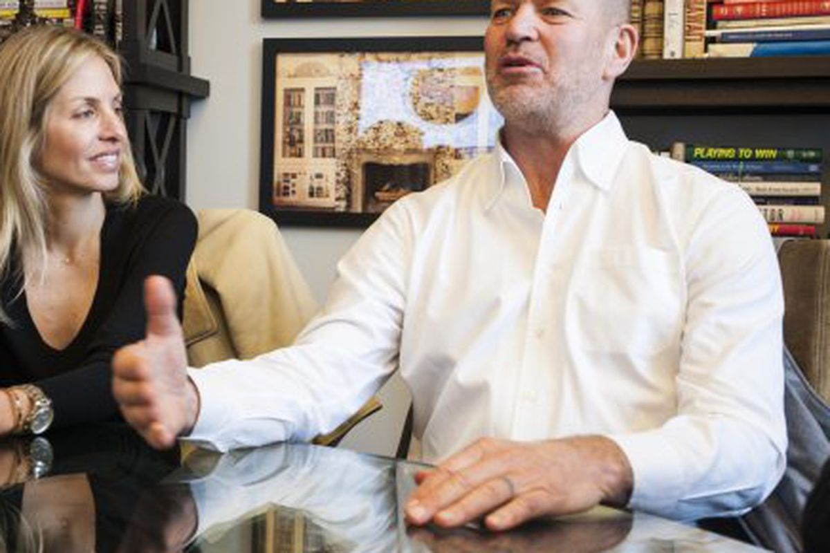 """Chip Wilson, former CEO of Lululemon, with his wife. Image <a href=""""http://www.dailyfinance.com/2013/12/10/lululemon-founder-chairman-chip-wilson-stepping-down/%22"""">via</a>."""