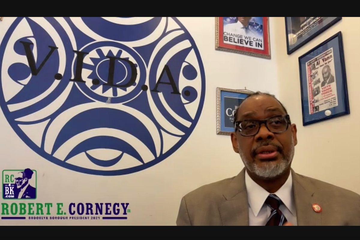 Councilmember Robert Cornegy announces during a virtual event his run for Brooklyn borough president, Feb. 11, 2021.