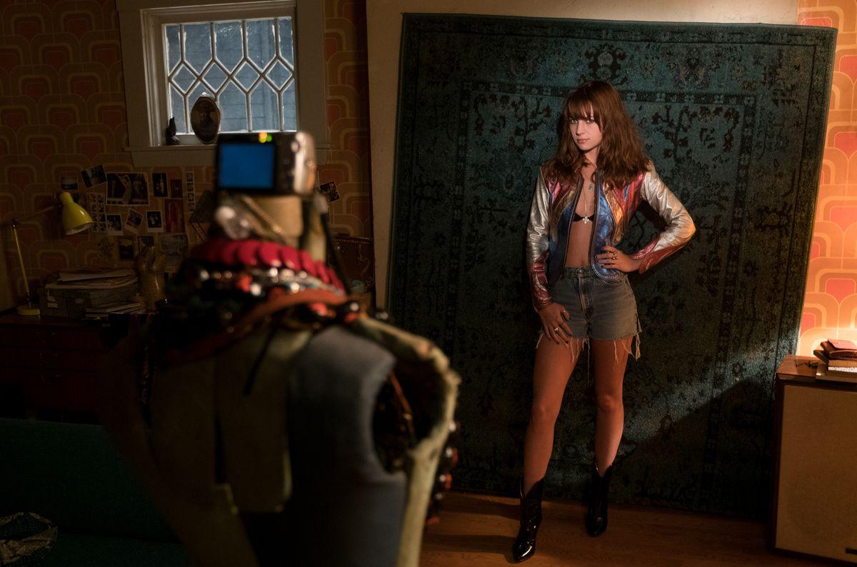 Britt Robertson as Sophia Marlowe in Girlboss, modeling that leather jacket.