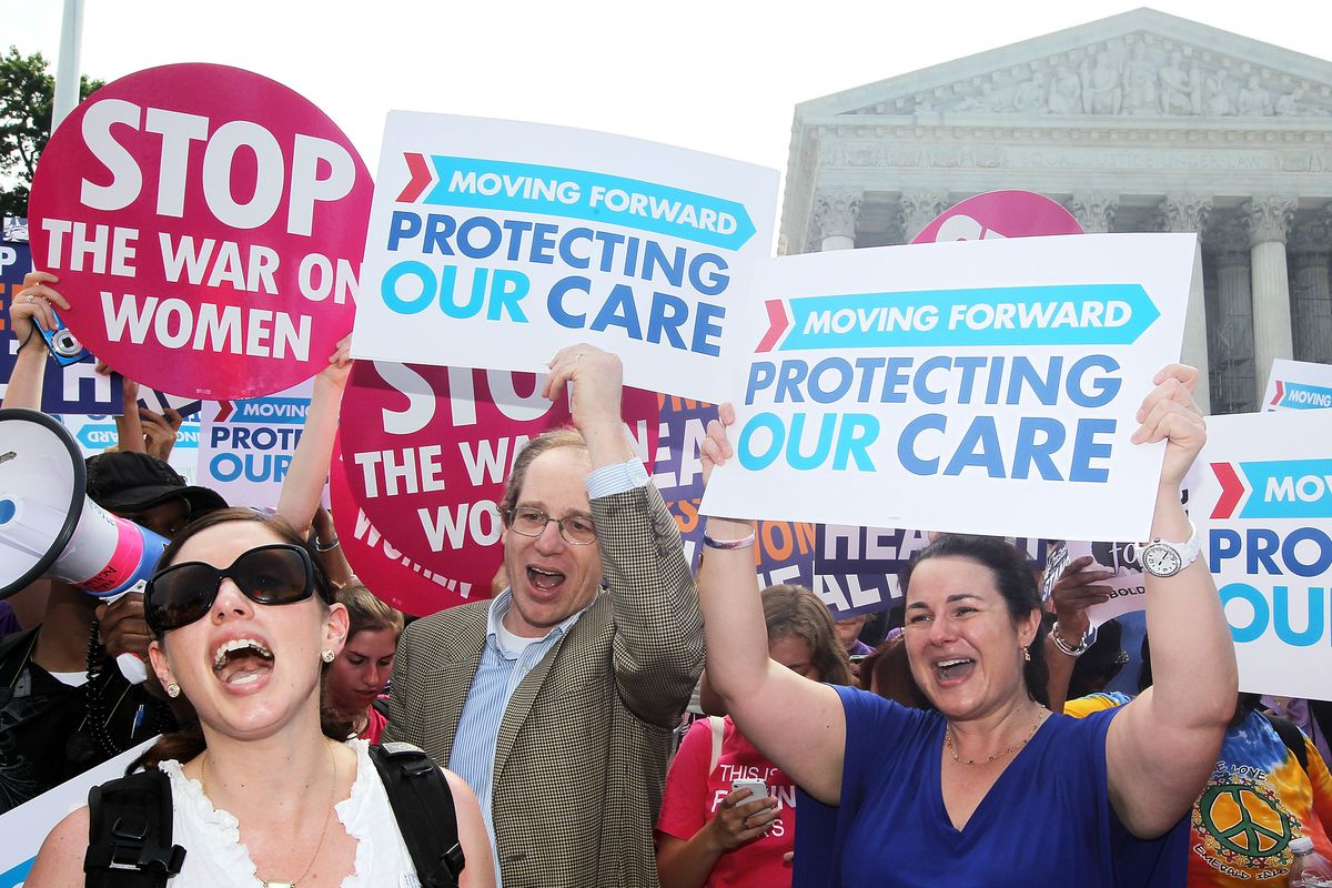 Obamacare supporters celebrate on June 28, 2012, after the Supreme Court upheld the constitutionality of the entire Affordable Health Care Act.