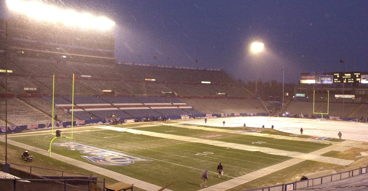 Foxboro Stadium hours before the game (John Mottern/AFP/Getty Images)