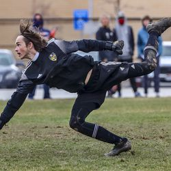 Action in the Skyline at Brighton boys soccer match at the Cottonwood Heights Recreation Center on Friday, March 26, 2021.