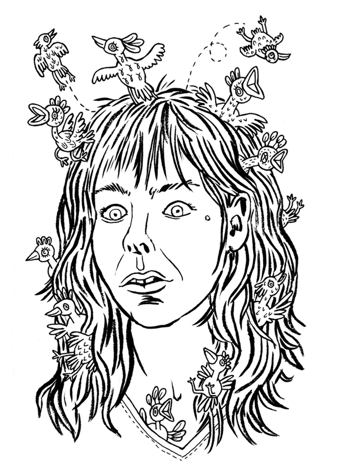 A black and white line drawing self-portrait of Lisa Hanawalt with small birds all over and throughout her shoulder-length hair.