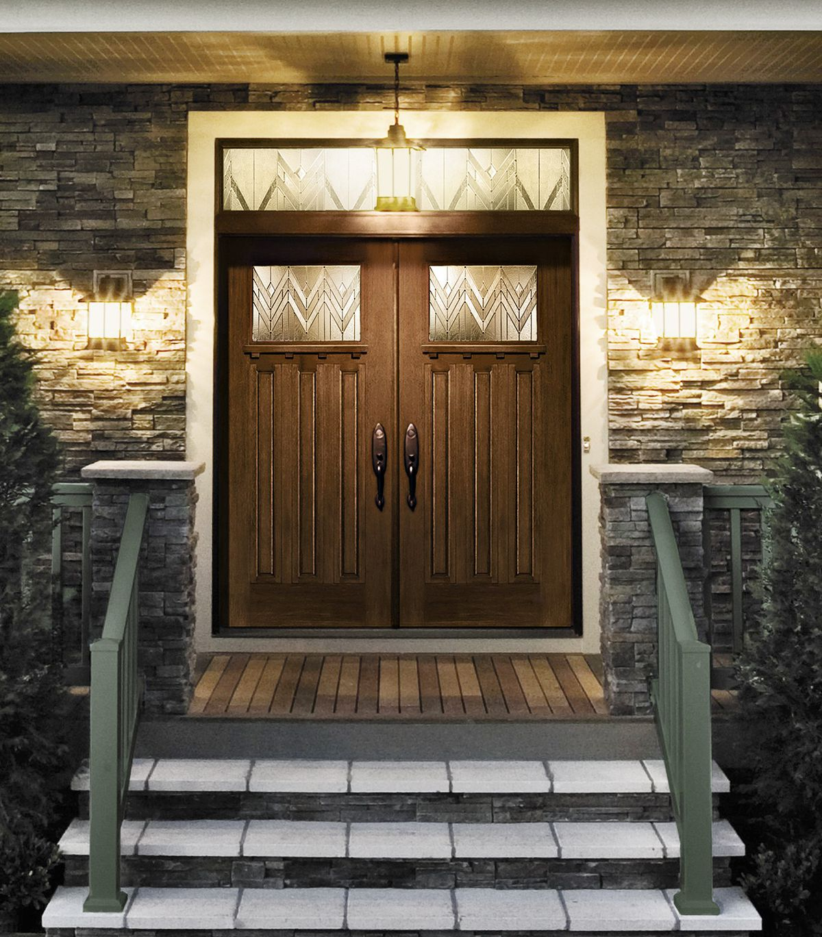Craftsman Double Door With Homestead Windows