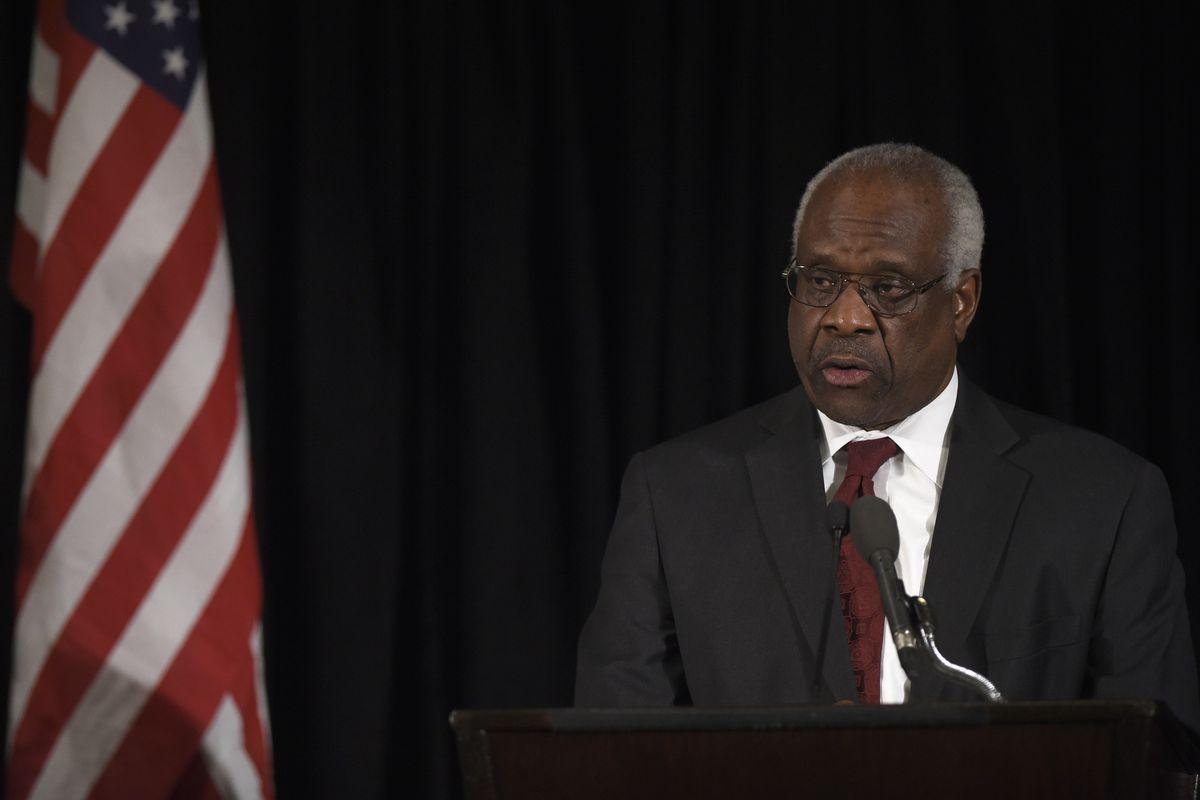 Justice Clarence Thomas speaks at Antonin Scalia's memorial service.