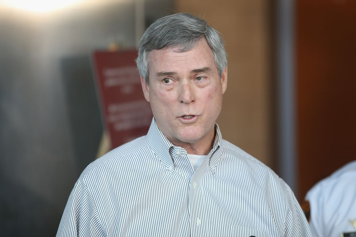 St. Louis County Prosecuting Attorney Bob McCulloch speaks to reporters.