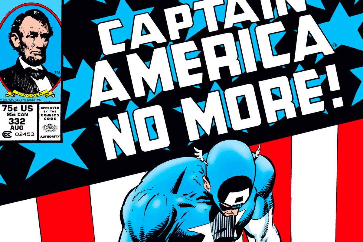 """Captain America hangs his head below a banner that reads """"Captain America No More!"""" on the cover of Captain America #332, Marvel Comics (1987)."""