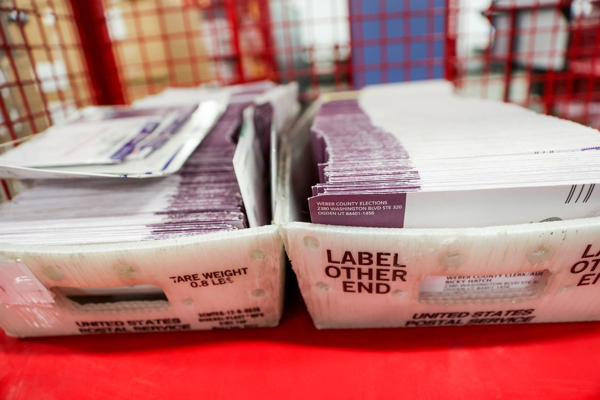 Returned ballots are pictured at the Weber County Elections Office in Ogden on Thursday, Oct. 29, 2020.
