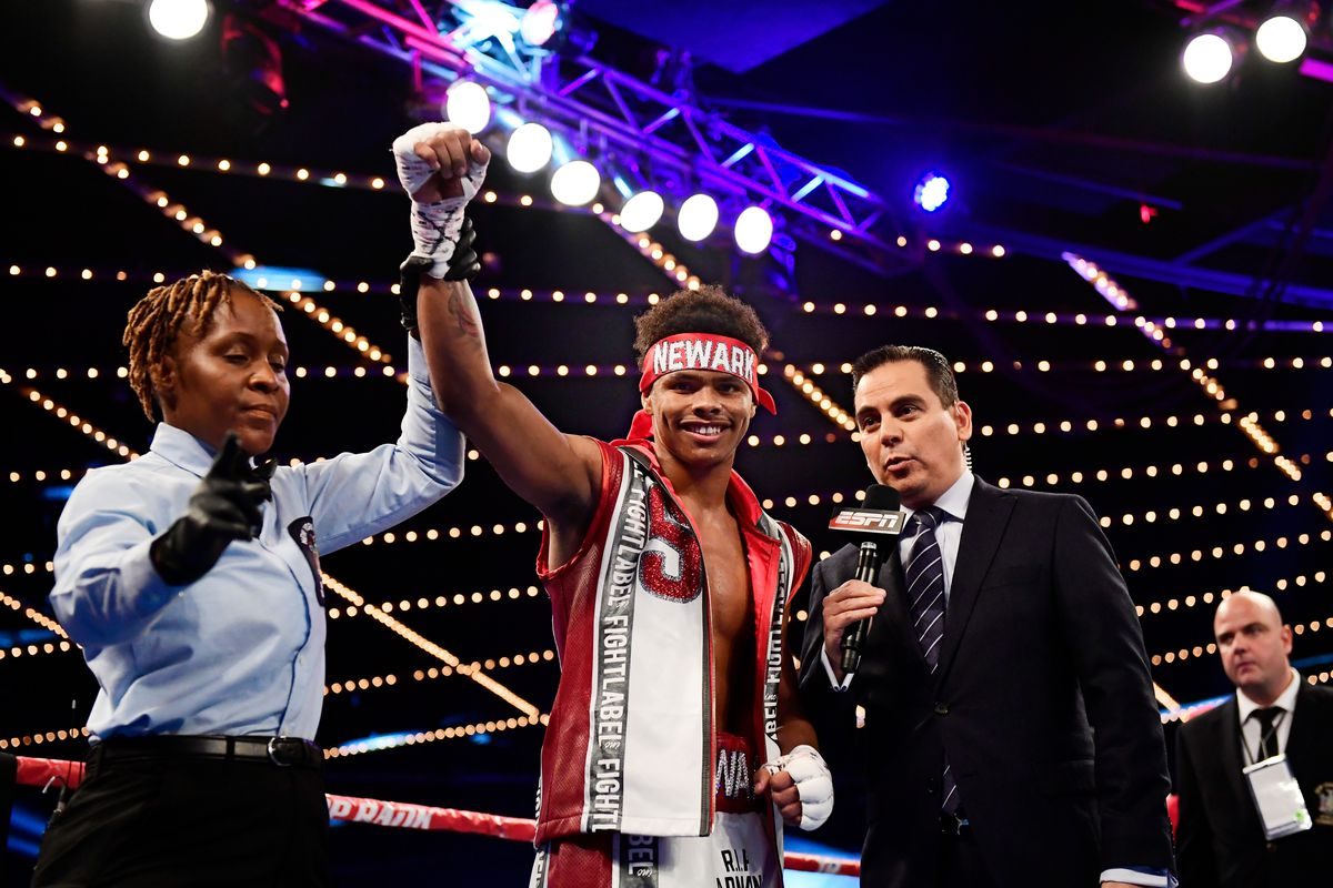 Stevenson celebrates his TKO win against Oscar Mendoza in their Featherweight bout at Madison Square Garden on December 9, 2017 in New York City.