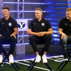 BYU quarterbacks, from left, Jaren Hall, Baylor Romney and Jacob Conover answer questions during BYU Football Media Day at the BYU Broadcasting Building in Provo on Thursday, June 17, 2021.