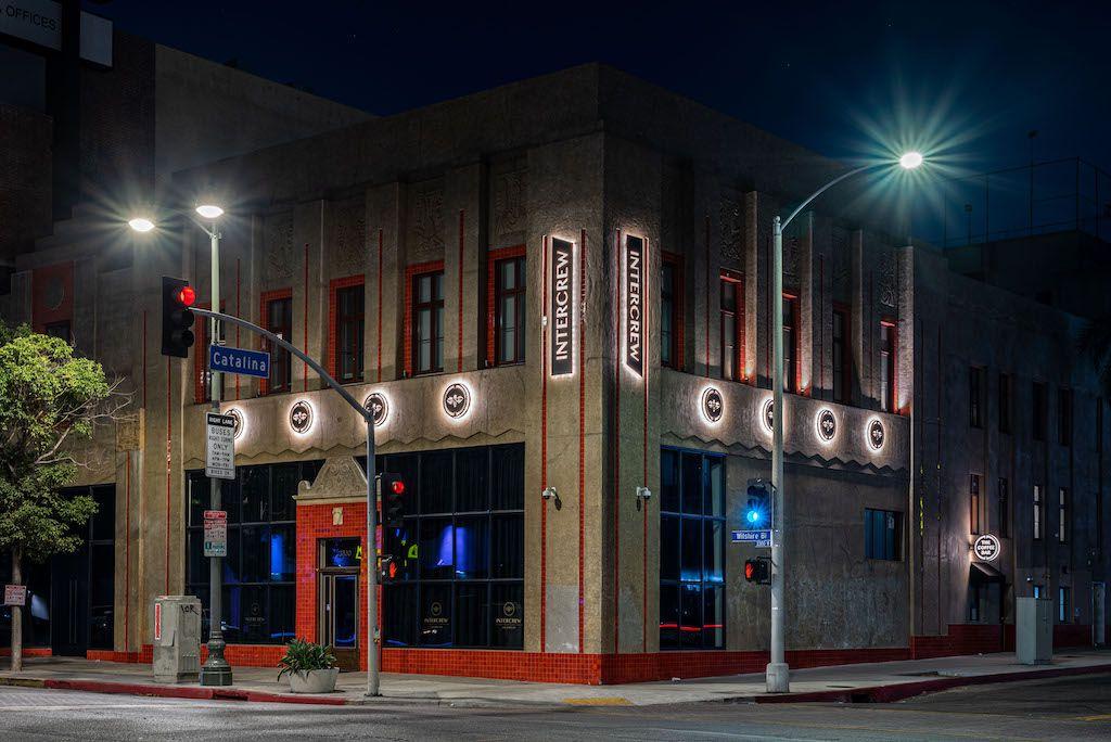 The exterior for Intercrew restaurant in Los Angeles