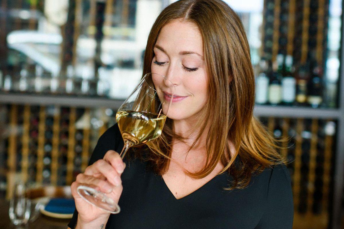 Kelsey Glasser of Arden drinking wine