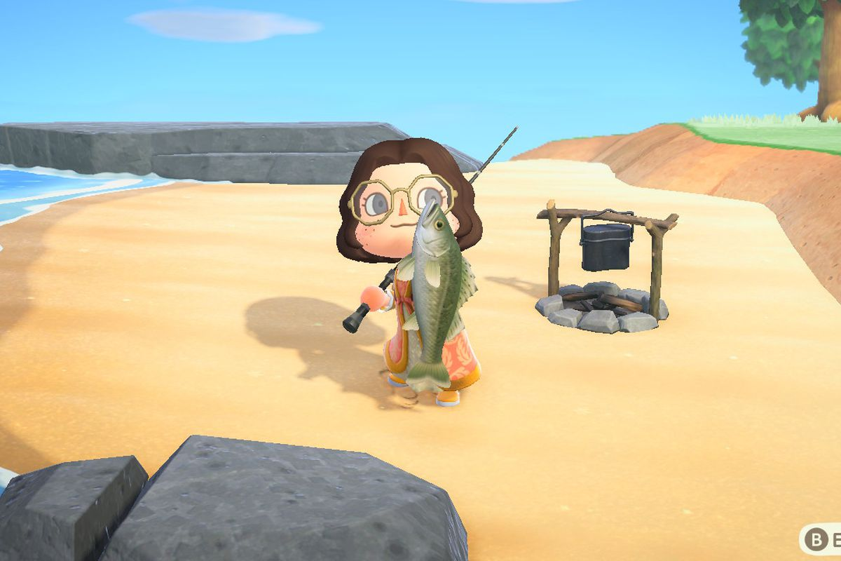 Animal Crossing character wearing dress and holding a Sea Bass