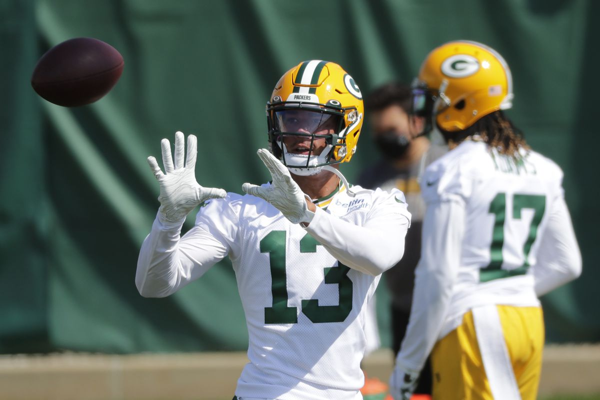 Green Bay Packers wide receiver Allen Lazard is shown Monday, August 17, 2020, during training camp in Green Bay, Wis. In back is wide receiver Davante Adams.