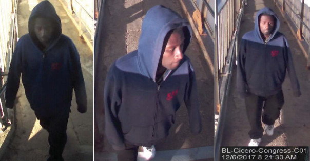 Chicago Police released these surveillance photos of the suspect in the incident at the Cicero Blue Line station in December.   Chicago Police Department.
