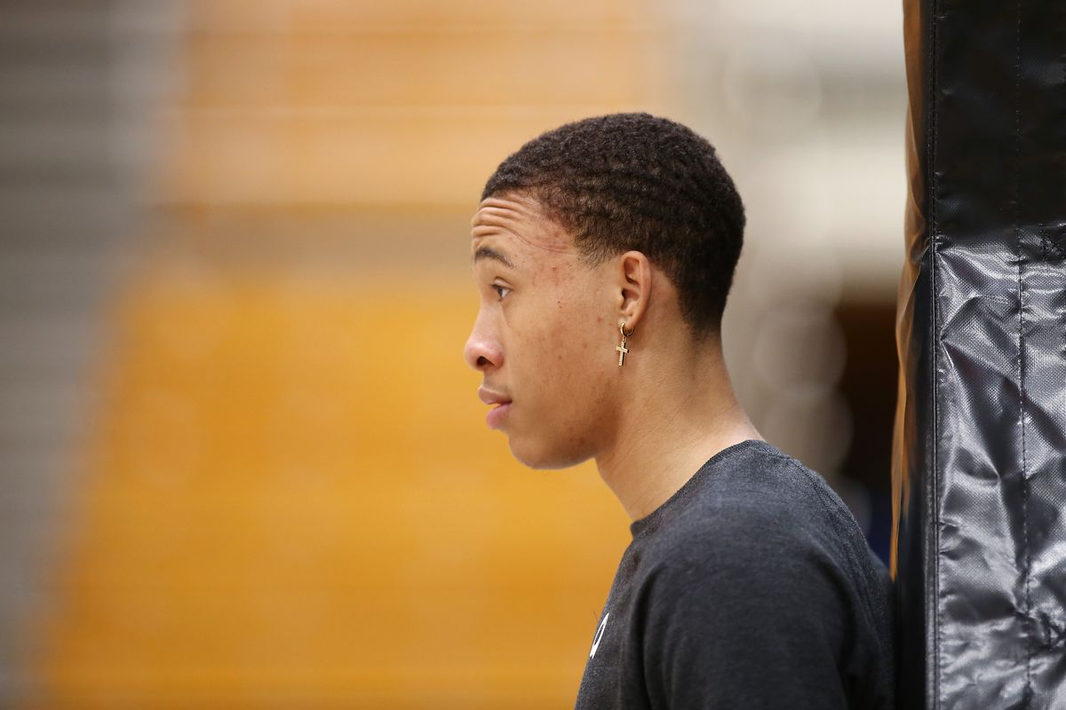 RJ Hampton of the Breakers looks on during warm up ahead of the round 16 NBL match between the New Zealand Breakers and the Sydney Kings at TSB Stadium on January 17, 2020 in New Plymouth, New Zealand.