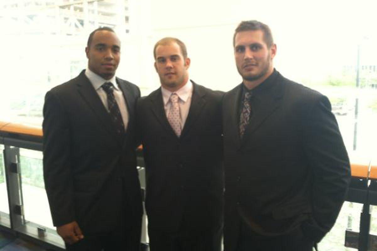 Etienne Sabino, Zach Boren, and John Simon represent Ohio State at Big Ten Media Days, 2012 in Chicago. (Photo Courtesy of The Ohio State University Athletic Department)