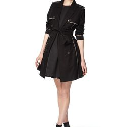 Look 3: Trench Coat in Black, $54.99 Also Available in Navy Flared Dress in Black with Nude Patent Belt, $59.99 Also Available in White with Black Patent Belt (Available at Target.com only)