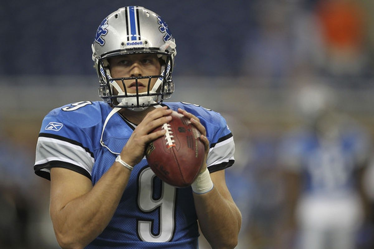 DETROIT - AUGUST 28: Matthew Stafford #9 of the Detroit Lions warms up prior to the start of the preseason game against the Cleveland Browns at Ford Field on August 28 2010 in Detroit Michigan. (Photo by Leon Halip/Getty Images)