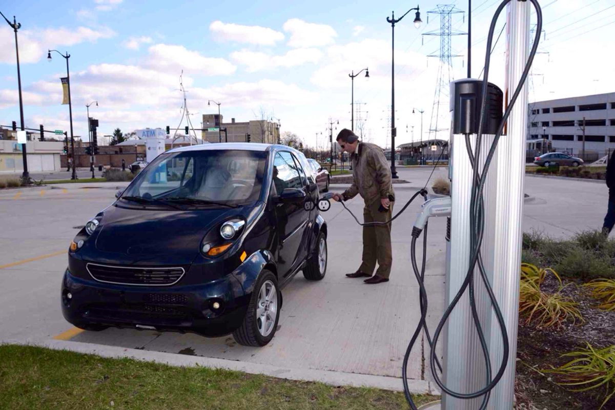 Skokie has set up its first charging station for electric vehicles near the new downtown Skokie CTA station off of Skokie Boulevard.