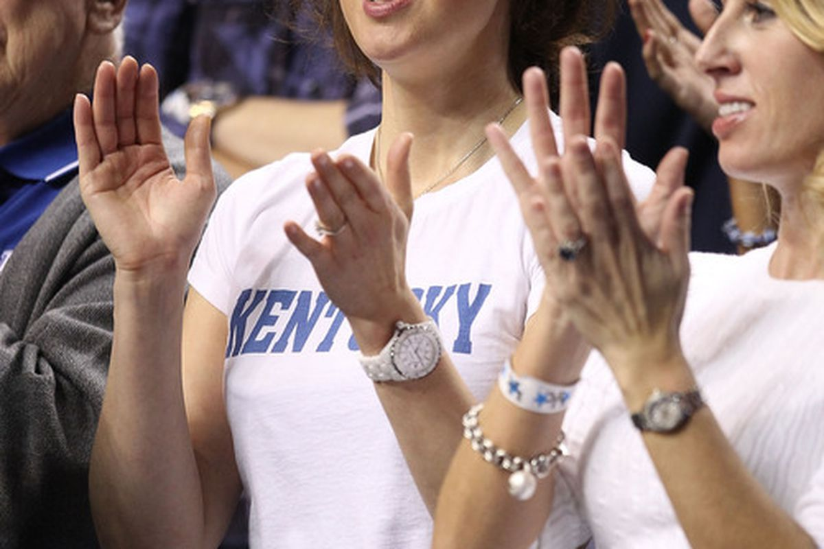 LEXINGTON KY - JANUARY 29:  Ashley Judd cheers on the Kentucky Wildcats during the SEC game against the Georgia Bulldogs at Rupp Arena on January 29 2011 in Lexington Kentucky.  (Photo by Andy Lyons/Getty Images)