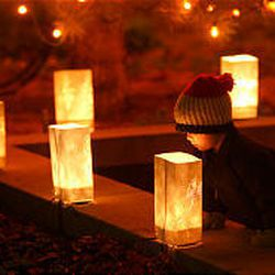 Three-year-old Jacob Scheffner peeks inside a luminaria outside the Church Office Building as he and other visitors admire the lights in downtown Salt Lake City Friday evening. The brown-bagged luminaria lights were part of the Utah capital city's traditional day-after-Thanksgiving Lights On celebration Friday.