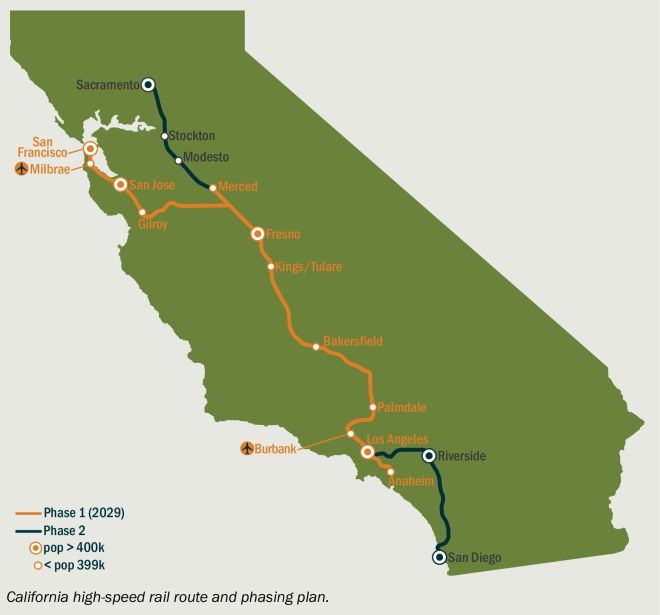 Map of California high-speed rail route and phasing plan