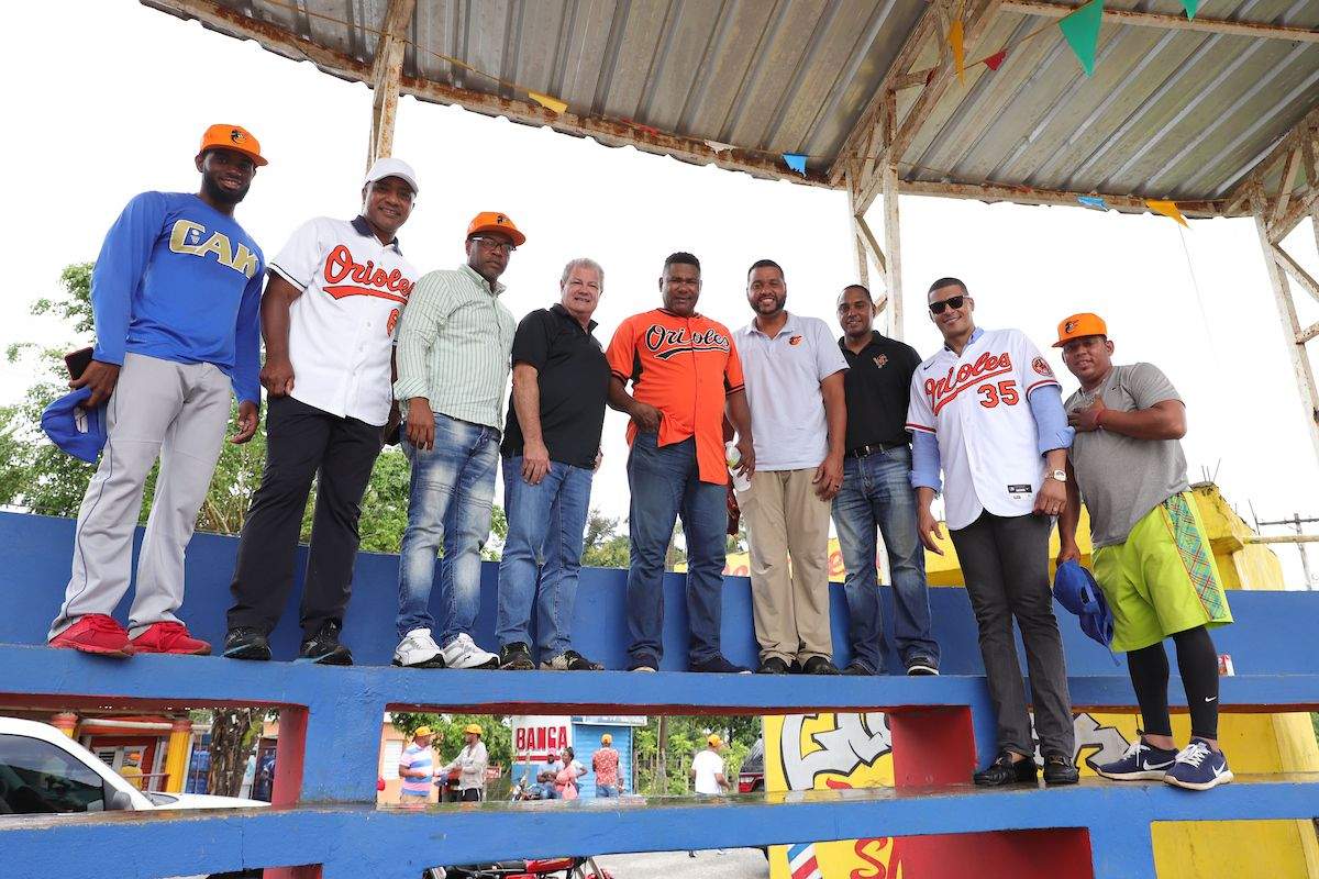 Former Orioles players attend the groundbreaking ceremony for the team's new Latin American development facility.