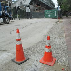 5:16 p.m. Gravel filling in the gap on the Sheffield curb -