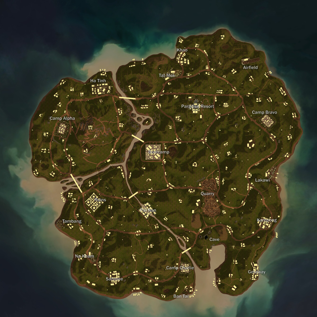 An overhead view of the map for PUBG's Sanhok rework