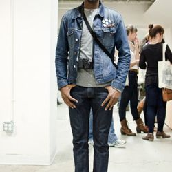 """<a href=""""http://la.racked.com/archives/2011/01/31/lorenzo_at_the_california_market_center.php"""" rel=""""nofollow"""">Lorenzo</a>'s hat is from St. Alfred, the jacket is Gant Rugger, the shirt is by Apolis Activism, his jeans are One Culture Denim, and the shoes"""