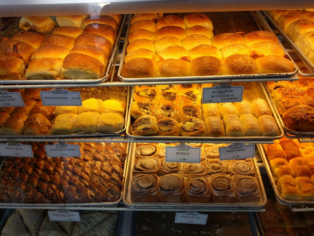 A selection of kolaches at a Texas bakery