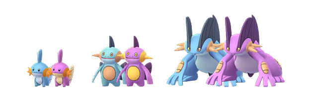 Models of the Shiny and regular forms of Mudkip, Marshtomp, and Swampert, from Pokemon Go