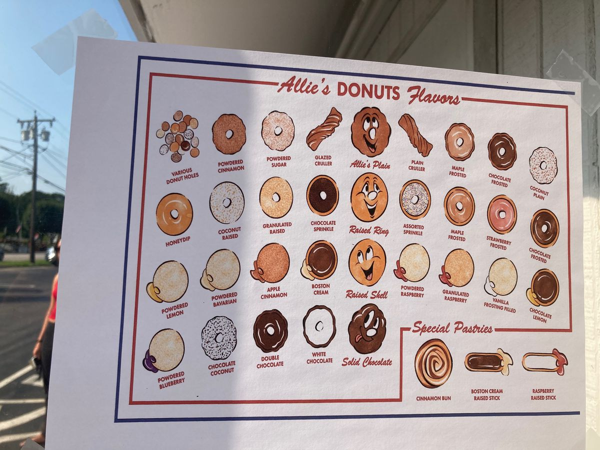 A piece of paper taped on a window shows numerous doughnut illustrations and corresponding flavor names. Several of the doughnuts have faces drawn on them.
