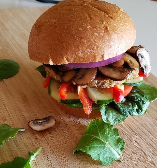 Mushroom chana burger