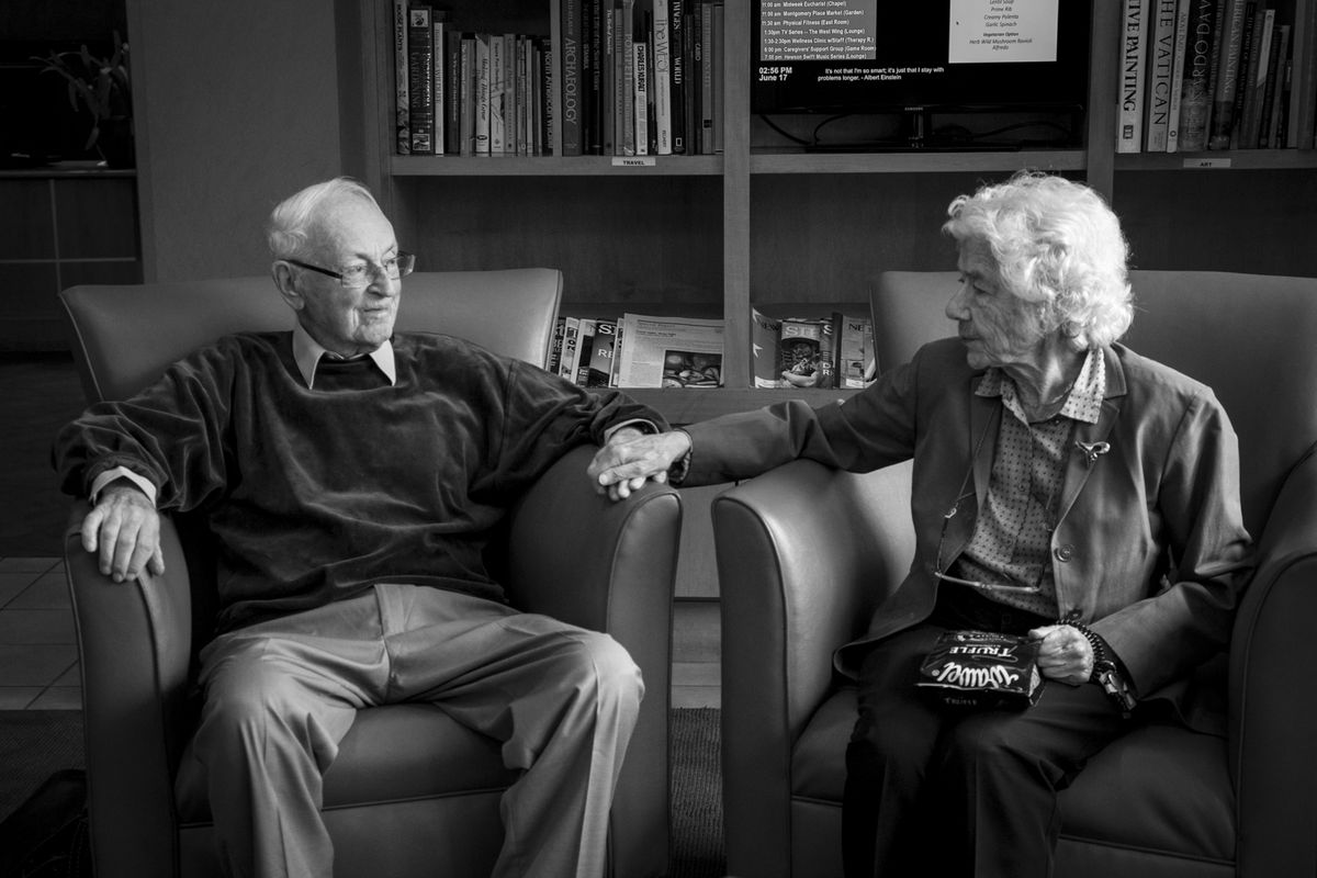Evi and Walter Levin in the building's lobby of their home at Montgomery Place in Hyde Park in June 2015.