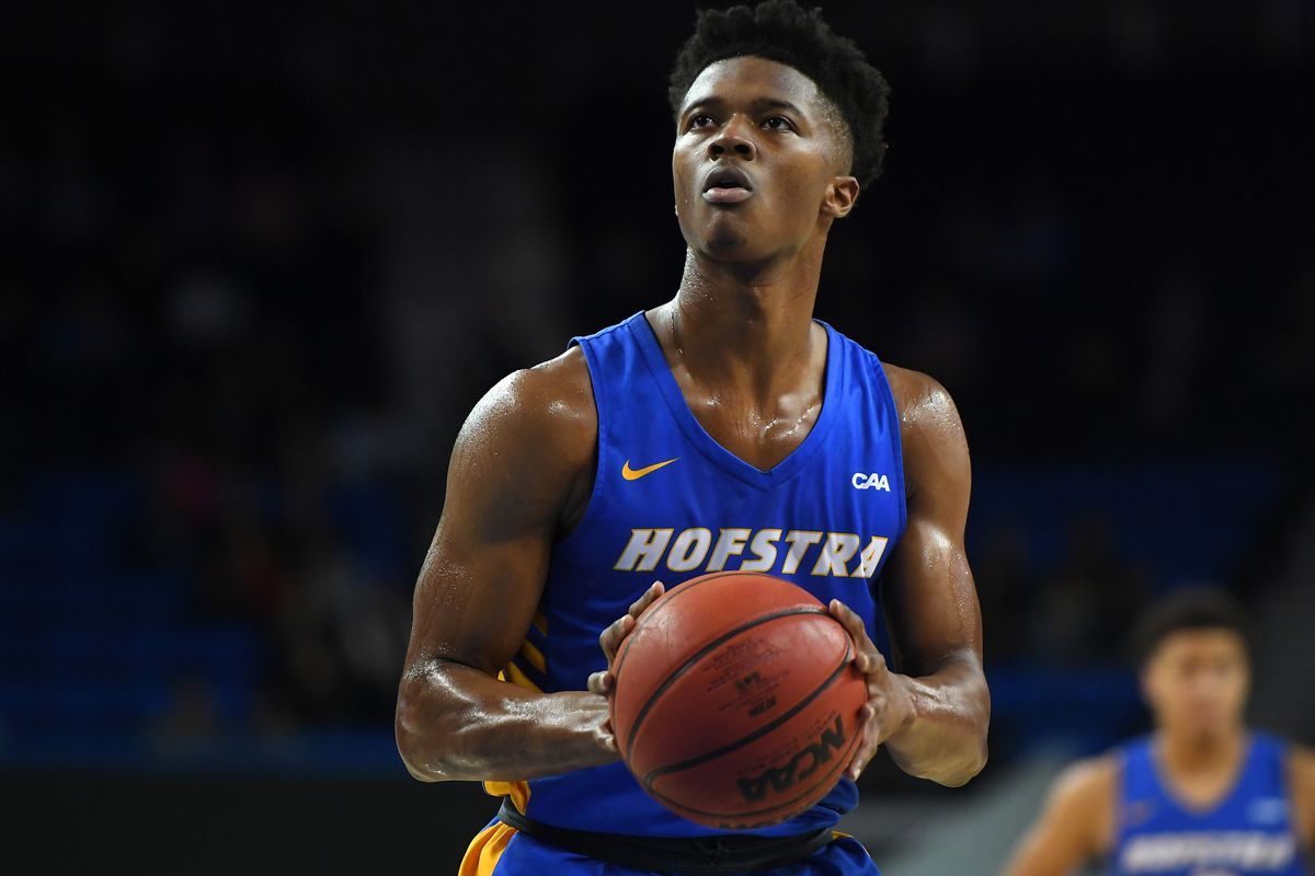 Eli Pemberton of the Hofstra Pride shoots a free throw in the game against the UCLA Bruins at Pauley Pavilion on November 21, 2019 in Los Angeles, California.