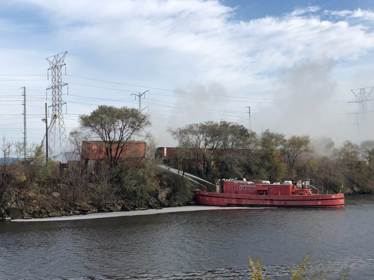 A Chicago Fire Department boat helped extinguish a fire Nov. 5, 2020, at Citywide Disposal, 5001 W. 40th St. in Stickney.