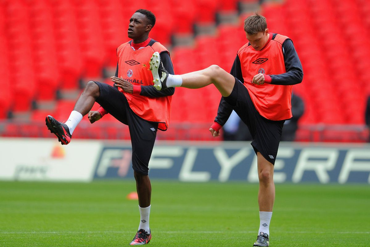 LONDON, ENGLAND - FEBRUARY 28: Danny Welbeck warms up with Phil Jones during the England Training and Press Conference at Wembley Stadium on February 28, 2012 in London, England.  (Photo by Michael Regan/Getty Images)