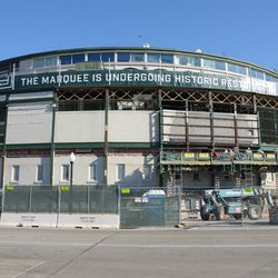 10:37 a.m. The current view of the front of the ballpark -