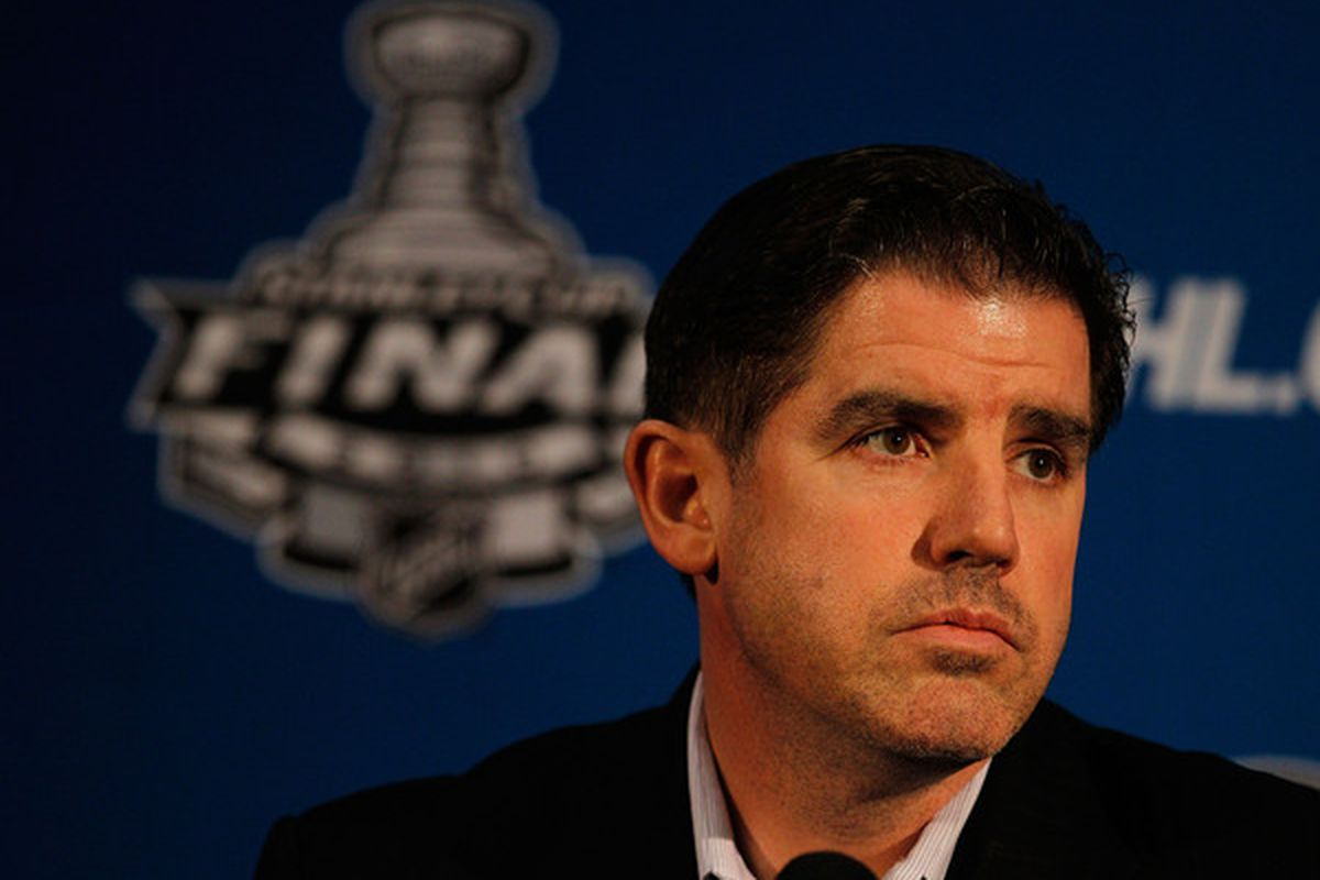 CHICAGO - MAY 27: Head coach Peter Laviolette of the Philadelphia Flyers answers a question during Stanley Cup media day at the United Center on May 27, 2010 in Chicago, Illinois. (Photo by Jonathan Daniel/Getty Images)