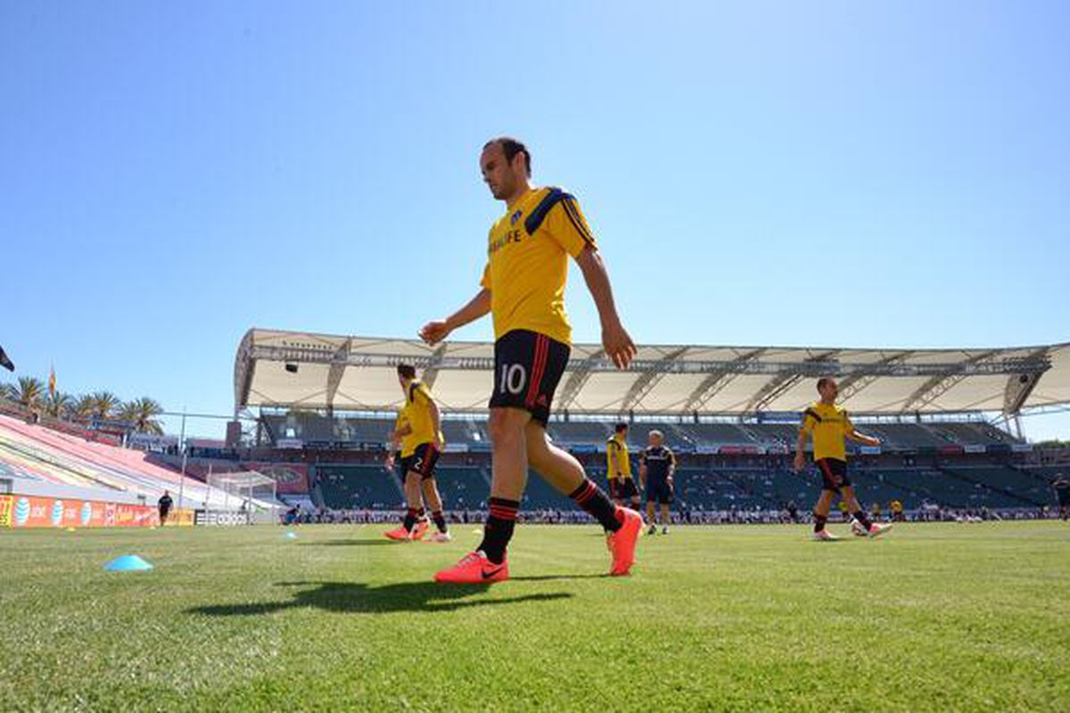 Landon Donovan warms up for the LA Galaxy bout against Chivas USA